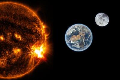 Fototapeta Słońce, Ziemia i Księżyc - Elementy tego zdjęcia dostarczone przez NASA