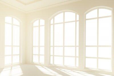 Fototapeta Słoneczny białe wnętrze z dużymi oknami