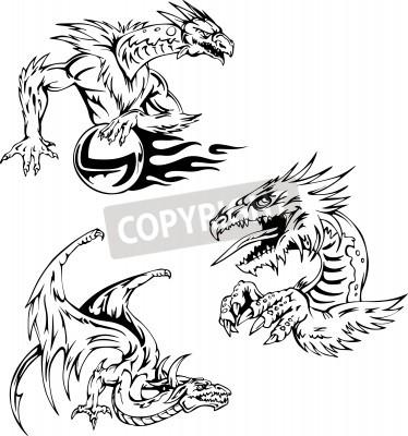 Fototapeta Smok Tatuaż Wzory Zestaw Ilustracji Wektorowych
