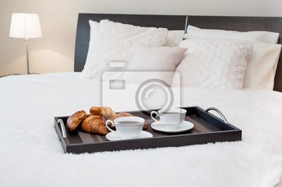 Fototapeta śniadanie Do łóżka Sypialnia Francja Kawa Rogaliki