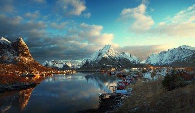 Fototapeta Śnieg w Reine Village, Lofoty, Norwegia