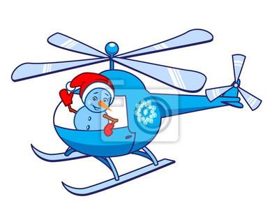Fototapeta Snowman, machając z helikoptera