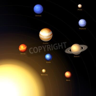 Fototapeta Solar System z Słońce i planety na ciemnym tle. Wektor