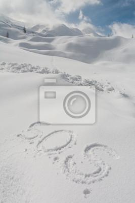 Fototapeta SOS napisane w śniegu