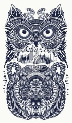 Fototapeta Sowa I Niedźwiedź Tatuaż Sowa Góry W Etnicznym Stylu T Shirt