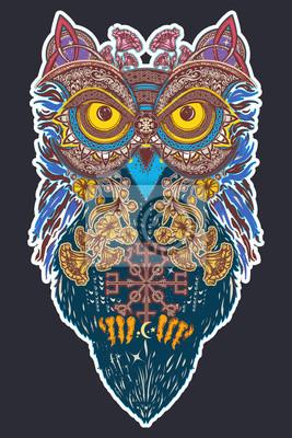 Fototapeta Sowa Kolor Tatuaż Sztuki Sowa W Etnicznym Stylu Celtyckim T Shirt