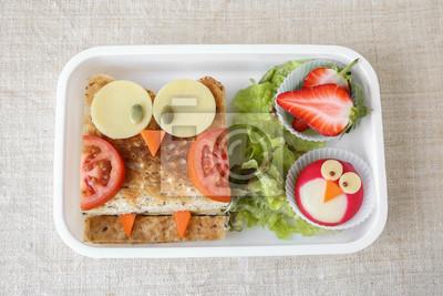 Fototapeta Sowa Zdrowe Kanapki Zabawy Dla Dzieci Lunch Box