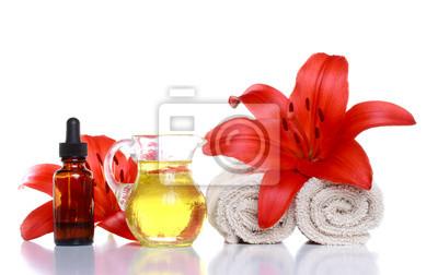 Fototapeta Spa Still Life - Olejki eteryczne, lilie i ręczniki