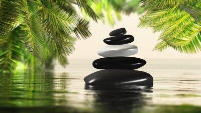 Fototapeta Spa Style Piramida kamieni w wodzie na tle zielonych liści