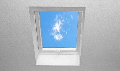 Fototapeta Spadzistym dachem z oknami