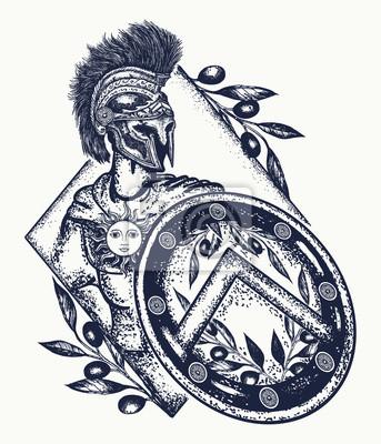Fototapeta Spartański Wojownik Tatuaż Sztuki Legionista Starożytnego Rzymu