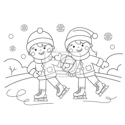 Sporty Zimowe Kolorowanka Dla Dzieci Fototapeta Fototapety