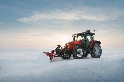 Fototapeta Sprzątanie śniegu ciągnik