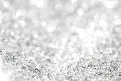Fototapeta Srebrne tło rozmyte abstrakcyjne światła. Złote lampy bokeh.