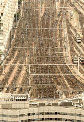 Fototapeta Stacja kolejowa Paryż, Francja. Widok z lotu ptaka