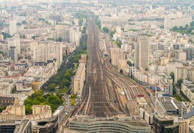 Fototapeta Stacja kolejowa Paryż widziany z wysokim punktu widzenia