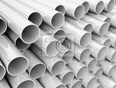 Fototapeta Stack of plastic pipes close up image