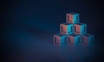 stacked cubes 3d render minimal geometric
