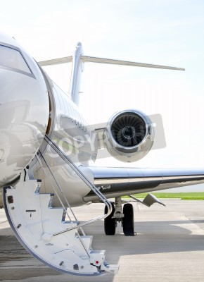 Fototapeta Stairs with Jet Engine on a modern private jet airplane - Bombardier Global Express