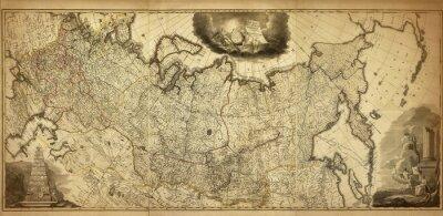 Fototapeta Stara mapa Rosji, wydrukowany w 1786 roku