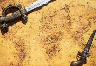 Fototapeta Stara mapa skarbu z mieczem i pistoletem muszkietu.