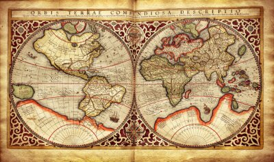 Fototapeta Stara mapa świata, wydrukowany w 1587