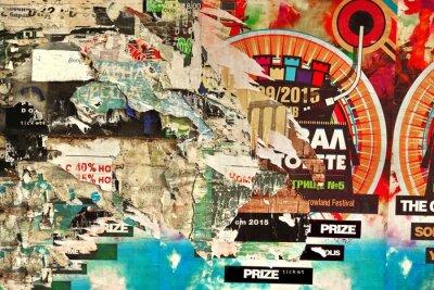 Fototapeta Stara tablica z rozdartym papierze Plakaty tła i tekstury