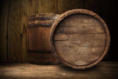 Fototapeta stare drewniane beczki