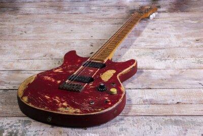 Fototapeta stare elektryczne czerwone gitary