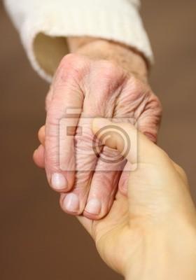 Fototapeta Stare i młodych ręce