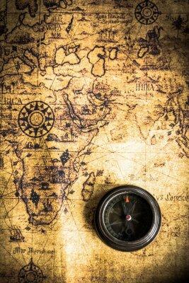 Fototapeta stare mapy z kompasem
