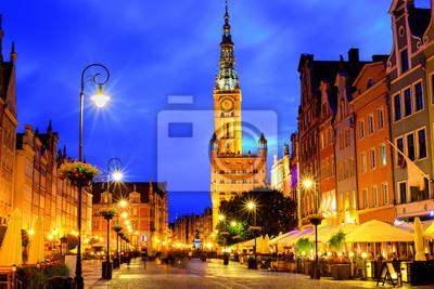 Fototapeta Stare Miasto Gdańsk, Polska, w świetle późnym wieczorem