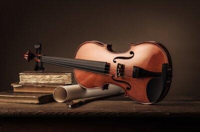 Fototapeta Stare skrzypce martwa natura z książek