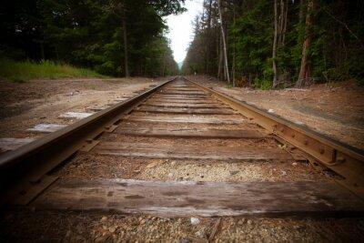 Fototapeta Stare tory kolejowe z rocznika efekt tekstury