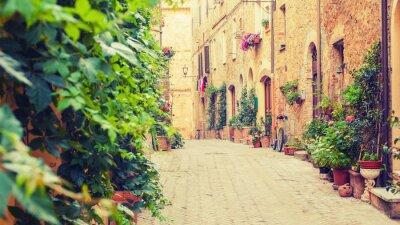Fototapeta Stare ulicy w Pienza, miasto renesansu w Toskanii, to