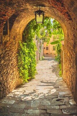 Fototapeta Stare uliczki średniowiecznego miasta Toskanii zieleni.