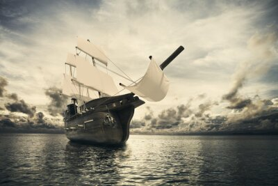 Fototapeta Starożytny statek w morze
