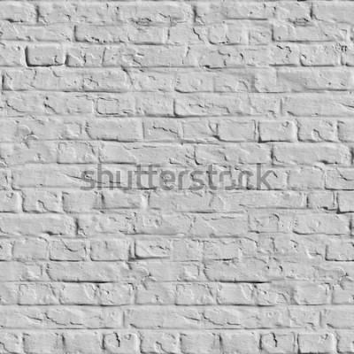 Fototapeta Stary Biały ściana z cegieł. Bezszwowa Tileable tekstura.