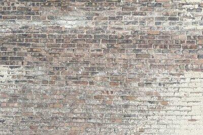 Fototapeta Stary czerwony mur ceglany z białą farbą teksturę tła