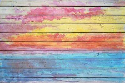 Fototapeta Stary drewniany wyżywienie w kolorach tęczy