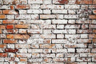Fototapeta Stary duży czerwonym tle ceglanego muru zmartwiony białą farbą