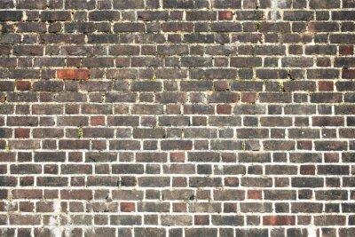 Fototapeta Stary duży wyblakły zakłopotany czerwonym tle ceglanego muru