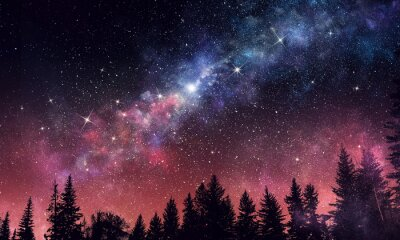 Fototapeta Stary jasne nocne niebo. Różne środki przekazu
