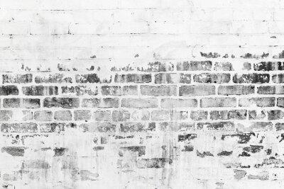 Fototapeta Stary mur ceglany z uszkodzonej białej warstwy farby