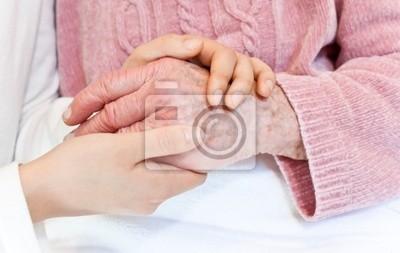 Fototapeta Starych i młodych ręce na biały zbiorcze