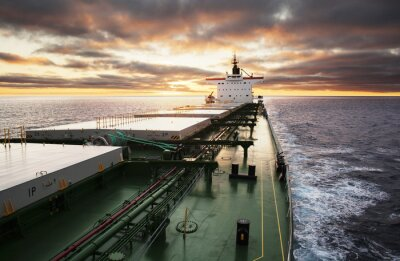 Fototapeta Statek towarowy w toku