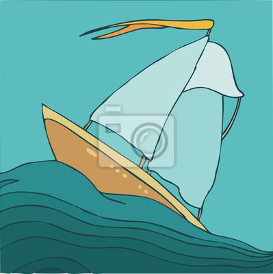 Fototapeta Statek w morze, ilustracji wektorowych