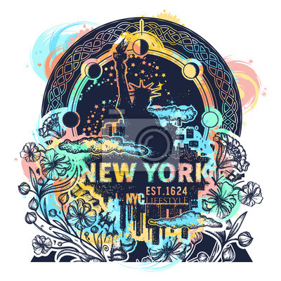 Fototapeta Statua Wolności Nowy Jork I Secesja Kwiat Kolor Tatuaż I T Shirt