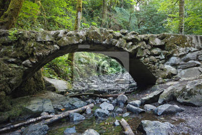 Fototapeta Stone bridge in Council Crest Park, Portland, OR