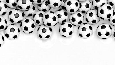 Fototapeta Stos klasycznych piłki nożnej na białym z kopiowaniem miejsca